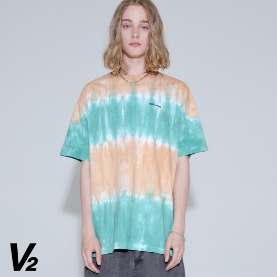 Overfit tie-dye logo printing graphic T-shirt_green