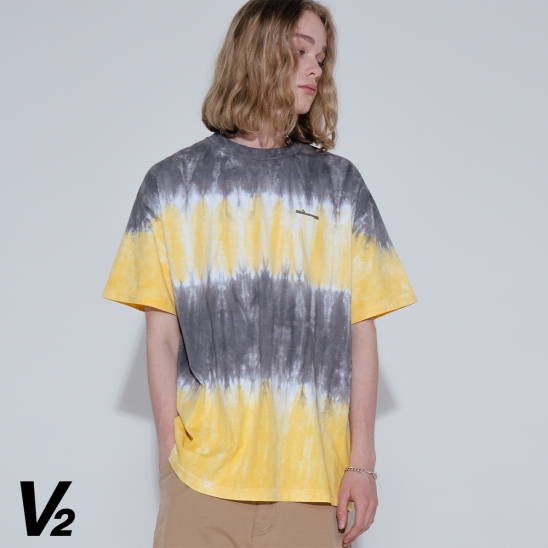 Overfit tie-dye logo printing graphic T-shirt_yellow