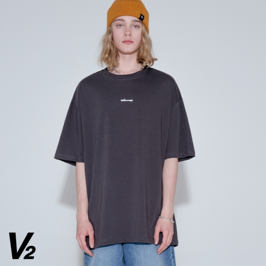 Overfit signature printing short sleeve T-shirt_charcoal
