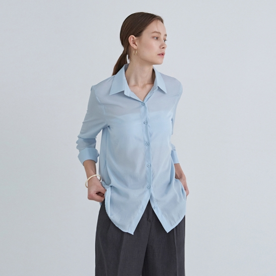 AIR SILKY BASIC SHIRT_SKY BLUE