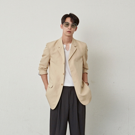 [COUCOU] STANDARD NOTCHED JACKET_BEIGE