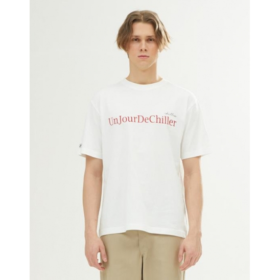 UNISEX EMBROIDERY LETTERING T-SHIRT WHITE