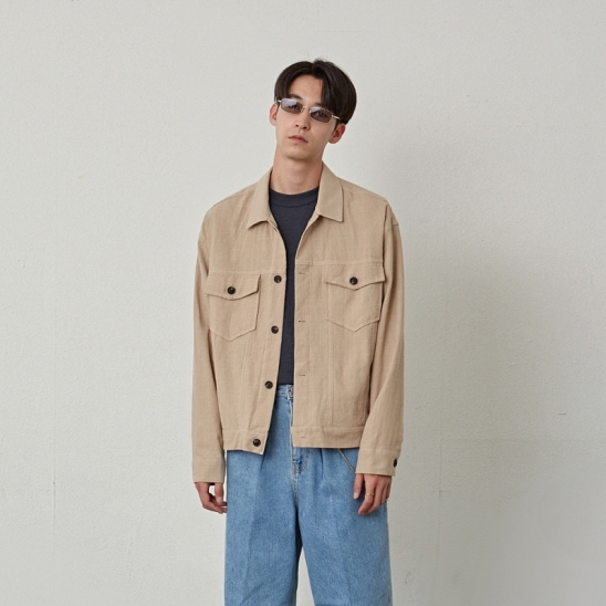 [COUCOU] TWO POCKET COTTON JACKET_BEIGE