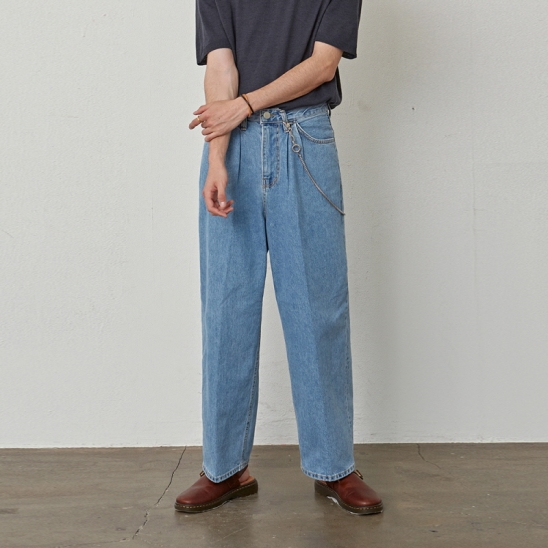[COUCOU] WIDE PINTUCK STRAIGHT JEAN_DENIM