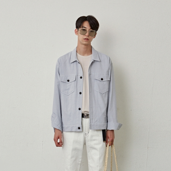 [COUCOU] TWO POCKET COTTON JACKET_GRAY