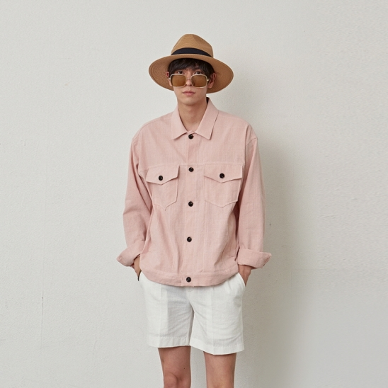 [COUCOU] TWO POCKET COTTON JACKET_PINK