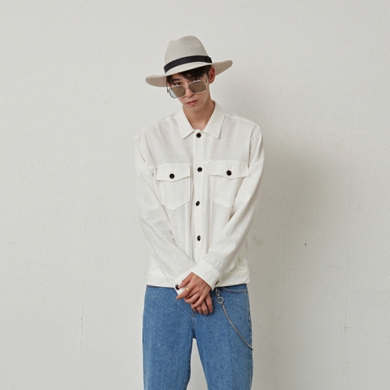 [COUCOU] TWO POCKET COTTON JACKET_WHITE
