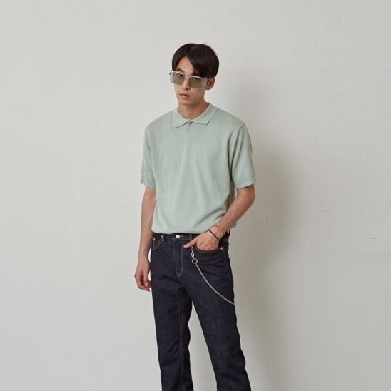 [COUCOU] POLO ESSENTIAL KNIT HALF TEE_MINT