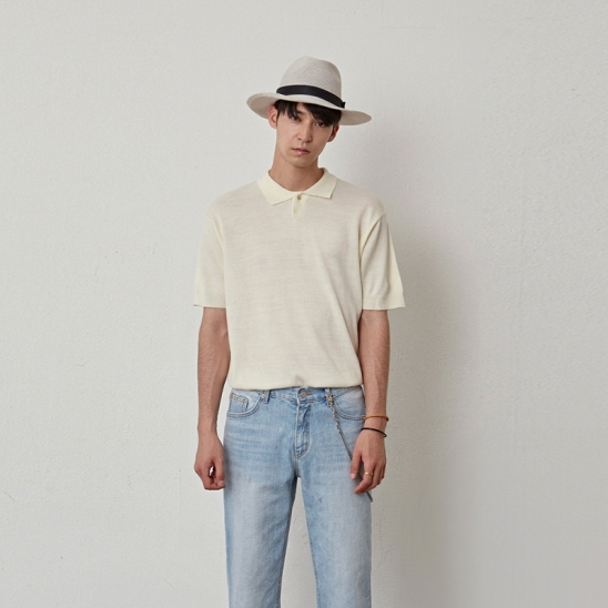 [COUCOU] POLO ESSENTIAL KNIT HALF TEE_CREAM