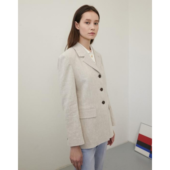 LINEN SINGLE JACKET BEIGE