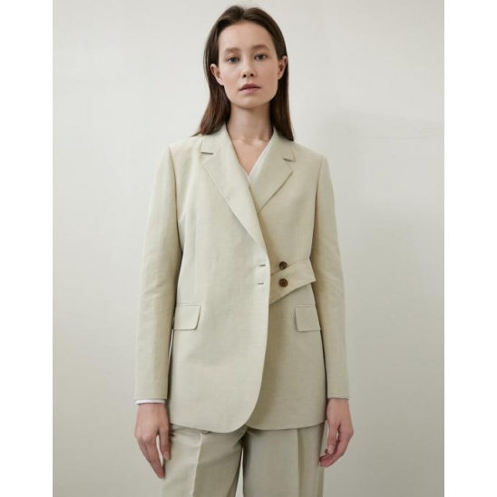 [김나영 착용] LINEN BELT JACKET LIGHT BEIGE