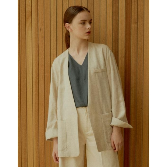 LINEN NO-COLLAR BELT JACKET BEIGE