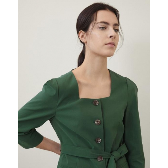 SQUARE NECK BELT JACKET DARK GREEN