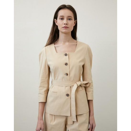SQUARE NECK BELT JACKET BEIGE