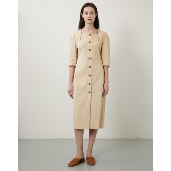 SQUARE NECK MIDI DRESS BEIGE