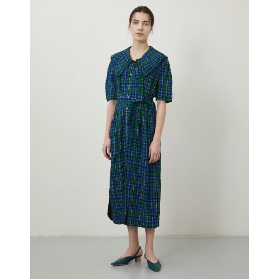 [LIMITED] RUFFLE TRIMMED COLLAR CHECK DRESS BLUE