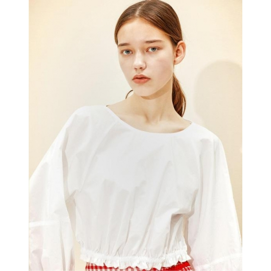 Cropped Volume Blouse [White]