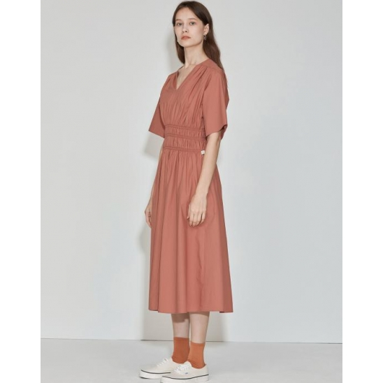 [3차 리오더] V-neck Cotton-poplin Dress [Light Brick]