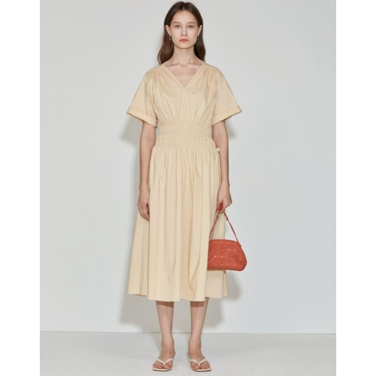 [3차 리오더] V-neck Cotton-poplin Dress [Butter Yellow]