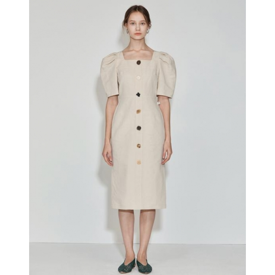 Square-neck Button point Dress [Light Beige]