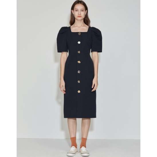 Square-neck Button point Dress [Navy]
