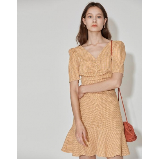 [3차 리오더] Stretch Seersucker Dress [Mustard Yellow]
