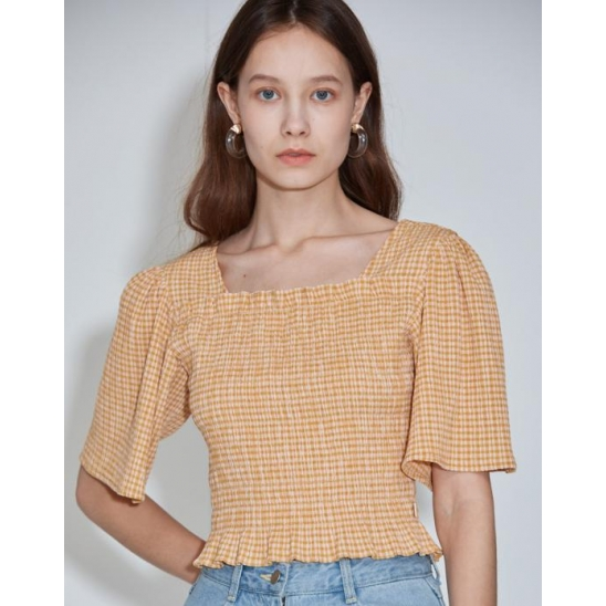 Square-neck Shirred Top [Mustard Yellow]