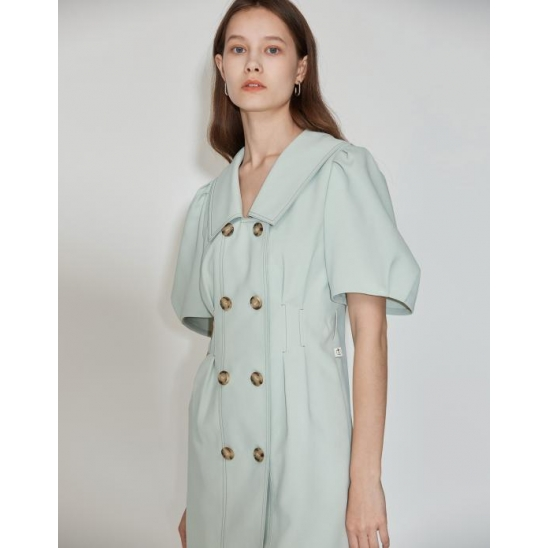 [5차 리오더] Double Button Belted Dress [Mint]