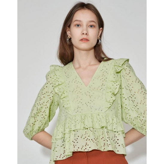 Tiered V-neck Blouse [Apple Green]