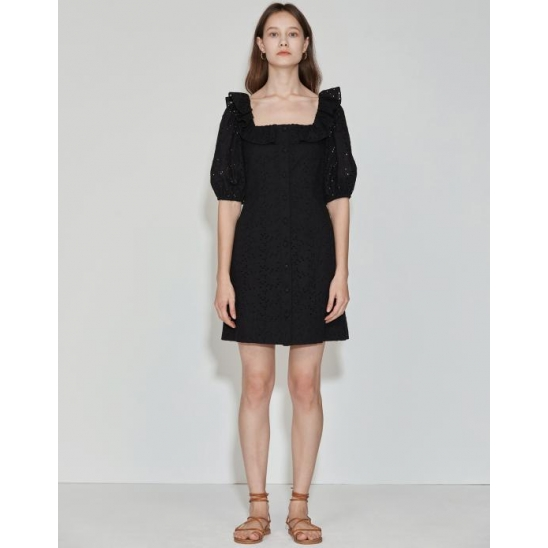 [2차 리오더] Ruffle-neck Dress [Black]