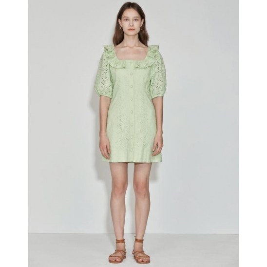 [2차 리오더] Ruffle-neck Dress [Apple Green]