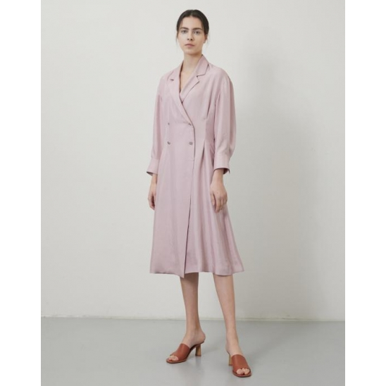 WAIST-TUCK DOUBLE CLOVER BUTTON LONG DRESS PINK