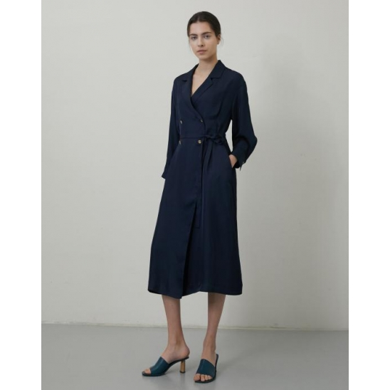 WAIST-TUCK DOUBLE CLOVER BUTTON LONG DRESS NAVY