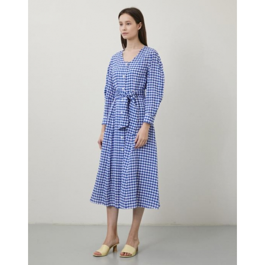 GINGHAM CHECK BALLOON SLEEVE DRESS BLUE