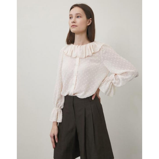 RUFFLE DOTTED BLOUSE IVORY