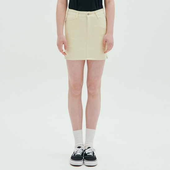 COLOR FITTED SKIRT_YELLOW
