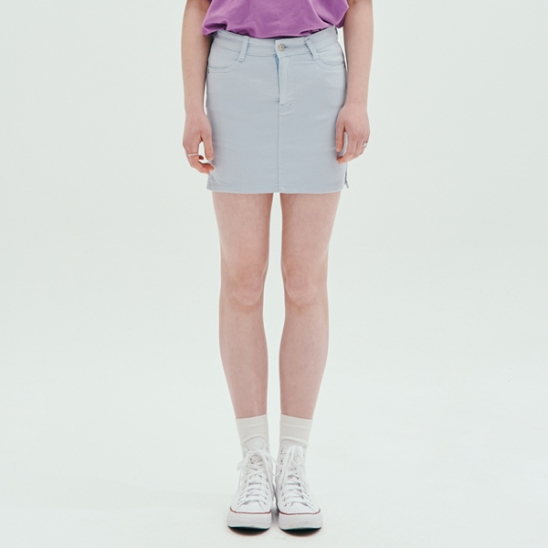 COLOR FITTED SKIRT_SKY BLUE