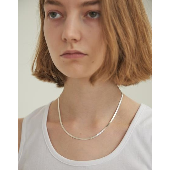 FLAT SNAKE CHAIN NECKLACE (SILVER)