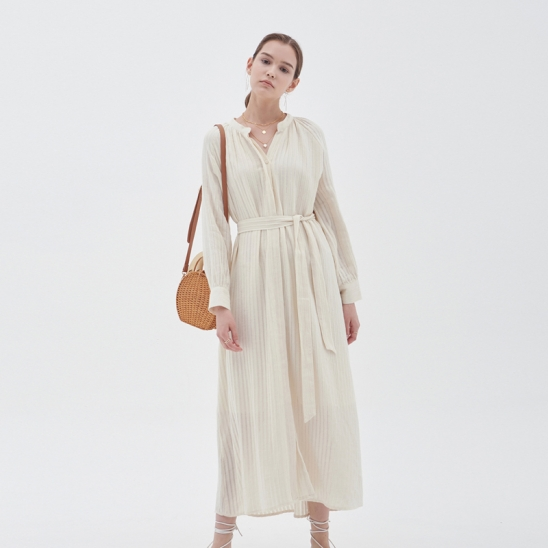 STRIPE STRAP MAXIS DRESS_IVORY