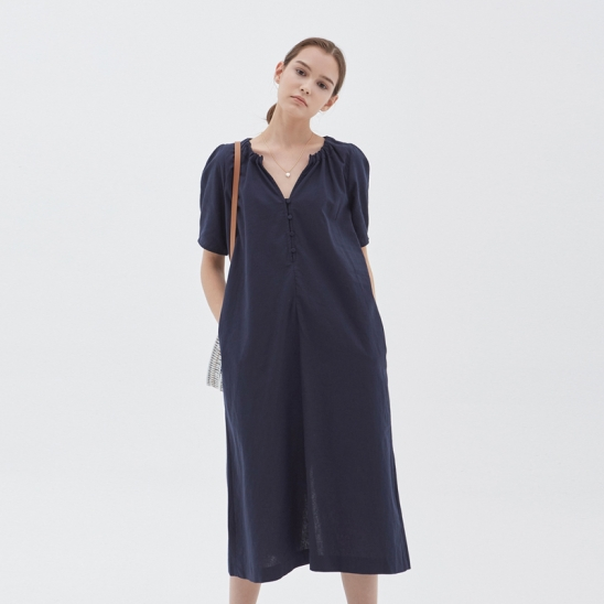 LINEN V-NECK LONG DRESS_NAVY