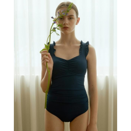 [ECO] RUFFLED POINT ONEPIECE SWIMSUIT NAVY