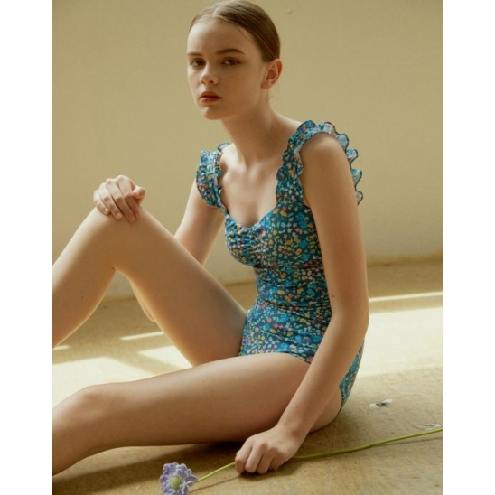 [ECO] RUFFLED POINT ONEPIECE SWIMSUIT BLUE