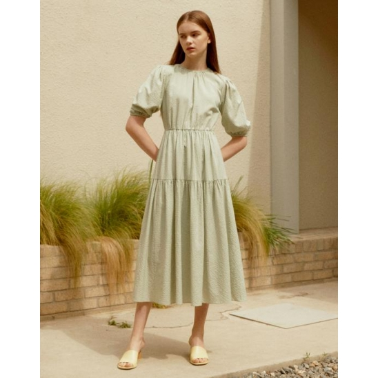 [모델 젤라비 착용]CHECK VOLUME STRUCTURE DRESS MINT