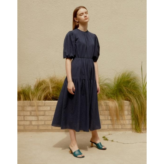 CHECK VOLUME STRUCTURE DRESS NAVY