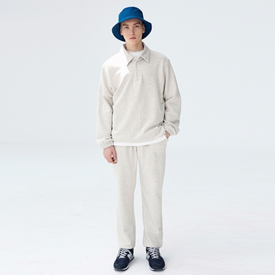 [COUCOU] STRING SWEAT PIQUE SHIRTS SET UP_OATMEAL
