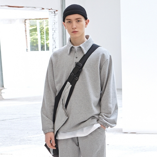 [COUCOU] STRING SWEAT PIQUE SHIRTS_GRAY