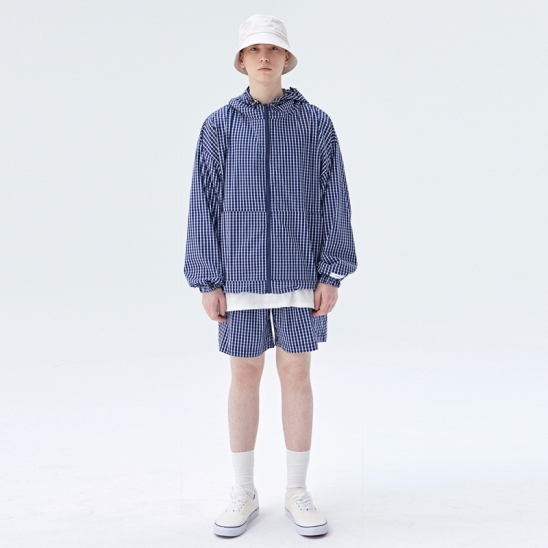 [COUCOU] ZIP-UP WINDBREAKER SET UP_BLUE CHECK