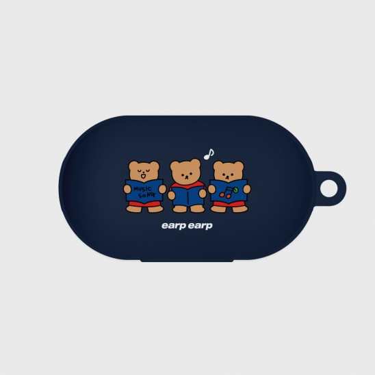 Music song bear-navy(buds jelly case)