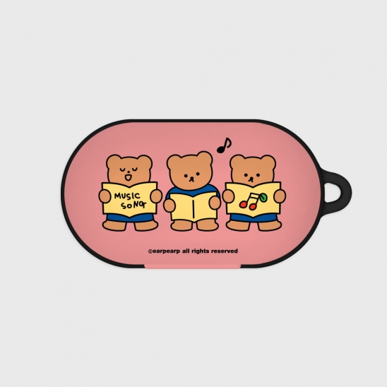 Music song bear-pink(Buds hard case)