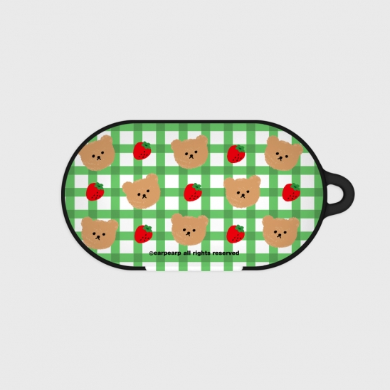 Dot strawberry check-green(Buds hard case)